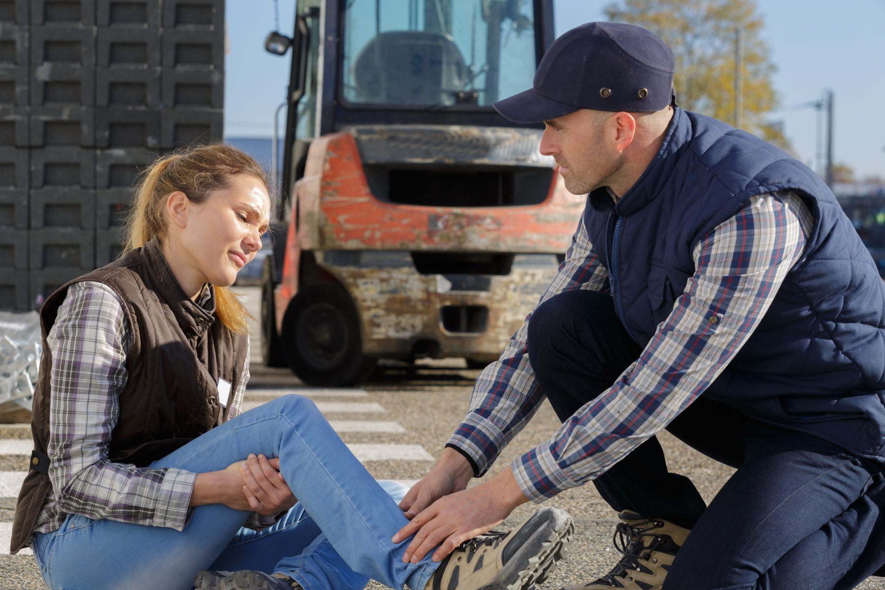 A hurt worker in a work accident representing how our Hampton workers' comp attorney can help you file a claim